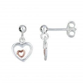 Lilly Zilveren Oorhangers - Rose-plated Open Hart  108.6073.00