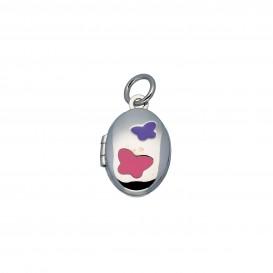 Lilly Zilveren Kindermedaillon - Ovaal Met Roze En Paars Vlinder 145.0117.00