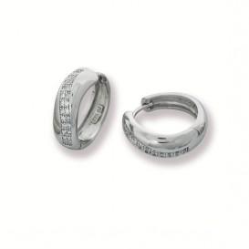 Zilveren Oorbellen klapcreolen met zirkonia 6 x 19 mm 107.5318.00