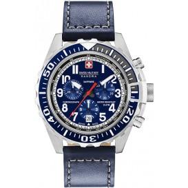 Swiss Military Hanowa 06-4304.04.003 Horloge Touchdown Chrono staal/leder