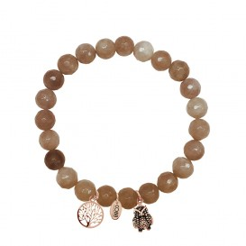 CO88 Collection 8CB-90010 - Armband met bedels - natuursteen en staal - Jade 8 mm - levensboom en uil - one-size - taupe bruin / rosékleurig