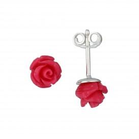 Lilly Zilveren Kinderoorknopjes - Fuchsia Roze Roos  106.0906.00
