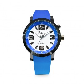 Colori Kinderhorloge Flash siliconen blauw 34 mm 5-CLK081
