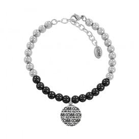 CO88 Collection 8CB-14016 - Armband met bedel - staal 6 mm - CO88 logo - lengte 17 + 5 cm - zwart / zilverkleurig
