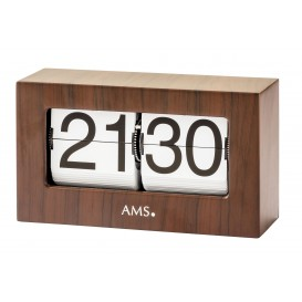 AMS 1177 Tafelklok, flipklok metaal Notenhoutkleur