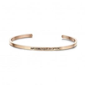 Key Moments 8KM-B00084 Stalen open bangle met tekst impossible is just an option zirkonia one-size rosékleurig