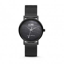 CO88 Collection 8CW-10053 - Horloge - mesh - zwart - ø 32 mm