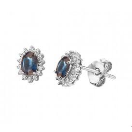 Oorknoppen Saffier Diamant 0.19ct(2x0.095) H SI Witgoud Glanzend 5 mm x 4 mm