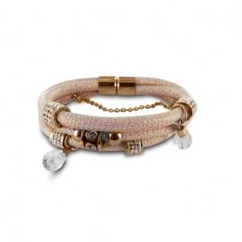 New Bling armband leder-staal oudroze-rose 980101440