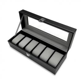 MAX Horloge box voor 6 horloges leder zwart-zwart 818200383