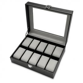MAX Horlogebox voor 10 horloges leder zwart-grijs 818200385