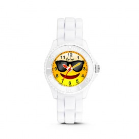 Colori Happy Smile 5-CLK080 - Kinderhorloge - siliconen band - wit - 30 mm