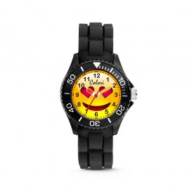 Colori Happy Smile 5-CLK073 - Kinderhorloge - siliconen band - zwart - 30 mm