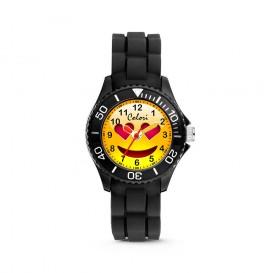 Colori Happy Smile 5-CLK073 - Kinderhorloge - siliconen band - zwart - 30 mm