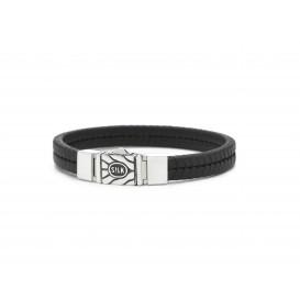 Silk Jewellery 157BLK-21 Armband zilver en leer lengte 21 cm