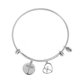 CO88 Collection 8CB-20012 - Stalen bangle met bedels - zirkonia kruis en open hart - one-size - zilverkleurig