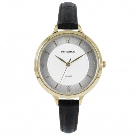 Prisma Horloge (1A) 8392 Dames Stainless Steel - Bruin Leer P.8392 Dameshorloge 1
