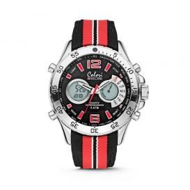 Colori Holland Sports 5-CLD131 - Horloge - nylon band - rood/zwart - 48 mm