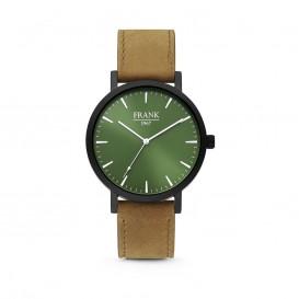 Frank 1967 7FW-0008 Stalen horloge met lederen band, bruin en groen Ø 42 mm
