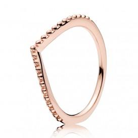 Pandora Rose Ring Beaded Wish zilver rosékleurig