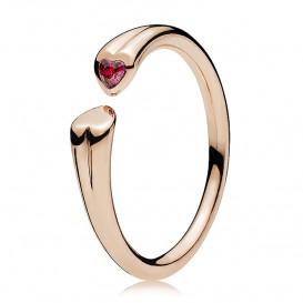 Pandora 186570CZR Ring Twee harten rosekleurig mt 50