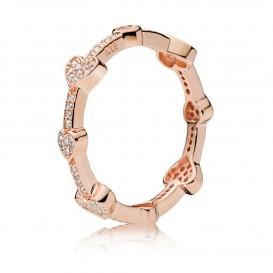 Pandora Rose Ring 187729CZ zilver rosekleurig Alluring Hearts Maat 50