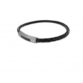 Frank 1967 - 7FB-0009 - Leren armband - met stalen elementen - 20 cm - Zwart