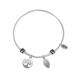 CO88 Collection 8CB-25004 - Stalen bangle met bedels - levensboom en blaadje - one-size - zilverkleurig