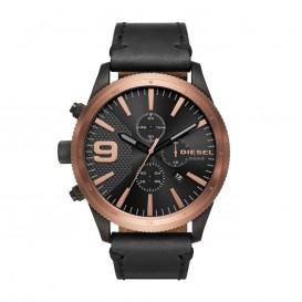 Diesel Horloge Chrono Rasp staal/leder zwart-rood 59 mm DZ4445