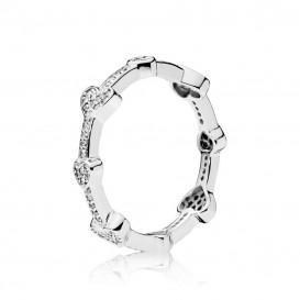 Pandora Ring 197729CZ zilver Alluring Hearts Maat 50