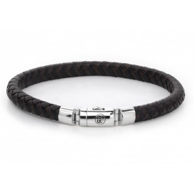 Rebel and Rose Armband Half Round Braided Black-Earth 19,5 cm RR-L0061-S-M