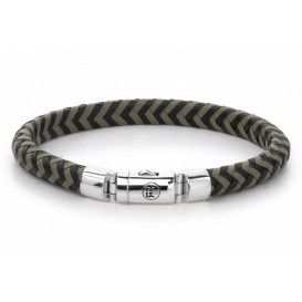 Rebel and Rose Armband Half Round Braided Black-Olive 21 cm RR-L0062-S-L