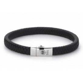 Rebel and Rose Armband Small Braided Black 19,5 cm RR-L0070-S-M