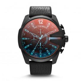Diesel Horloge Chrono Mega Chief staal/leder zwart-rood 52 mm DZ4323