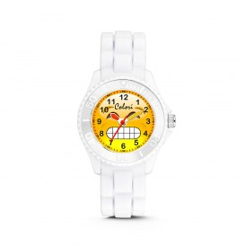 Colori Happy Smile 5-CLK076 - Kinderhorloge - siliconen band - wit - 30 mm