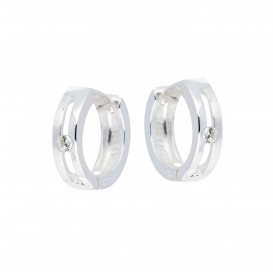 Zilveren Oorbellen klapcreolen met zirkonia 107.0654.00