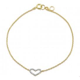 Armband Goud Hart Zirkonia 1,1 mm 16 + 1 cm