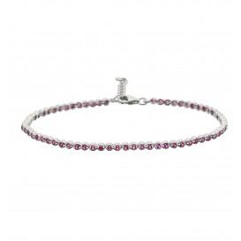 Zilveren Tennisarmband Fantasieschakel met rode zirconia  104.2032.20