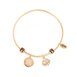 CO88 Collection 8CB-25006 - Stalen bangle met bedels - fantasie bedel en lotus bloem - one-size - goudkleurig