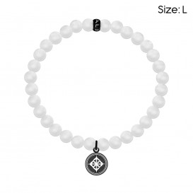 Kaliber 7KB-0049L - Heren armband met stalen elementen - Kaliber logo - mat Agaat natuursteen 6 mm - maat L (20 cm) - wit / zwart