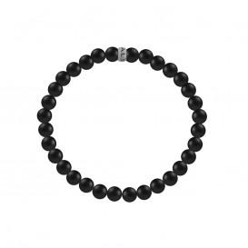 Kaliber 7KB-0037L - Heren armband met stalen elementen - Kaliber logo - mat Agaat natuursteen 4 mm - maat L (20 cm) - zwart / zilverkleurig