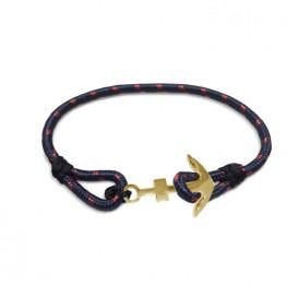Frank 1967 Armband Rope met stalen anker blauw-rood-goudkleurig 22 cm 7FB-0078