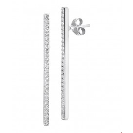 Oorknoppen Balkje Zirkonia Zilver Gerhodineerd Glanzend 35.5 mm x 2 mm