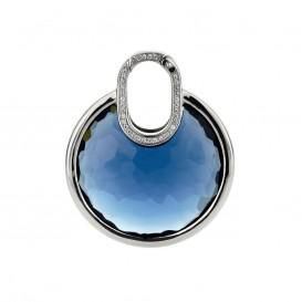 TI SENTO - Milano 6759DB Zilveren hanger blauw met zirkonia 35 mm