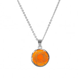 CO88 Collection 8CN-26005 - Stalen collier met hanger - jasseron - glazen sacral chakra 15 mm - lengte 42 + 5 cm - oranje / zilverkleurig