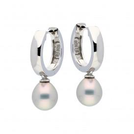Zilveren Oorbellen klapcreolen met grijze zoetwaterparel 107.0471.00