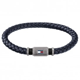 Tommy Hilfiger TJ2790083 Armband staal/leder zilverkleurig-navyblauw