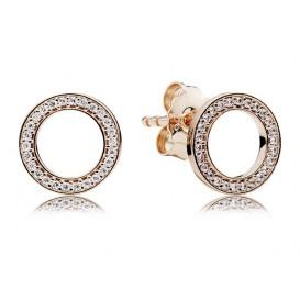 Pandora Rose Oorbellen zilver/rosékleurig Cirkels 280585CZ