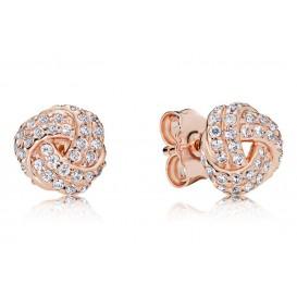 Pandora Rose 280696CZ Oorbellen zilver Love Knot rosékleurig