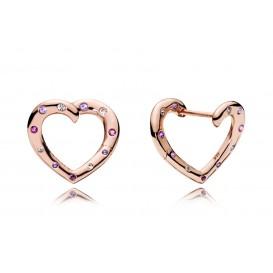 Pandora Rose Oorbellen zilver Bright Hearts Hoops rosékleurig 287231NRPMX